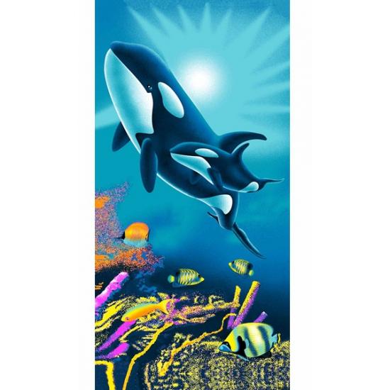 Strandlaken kind orka met baby 75 x 150