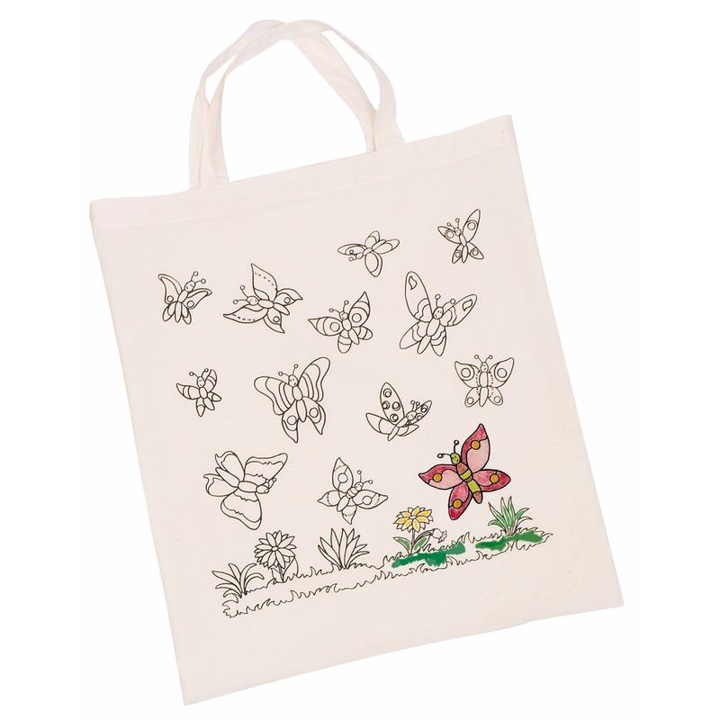 Afbeelding Tasje met vlinder motief van katoen door Animals Giftshop