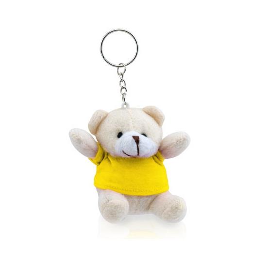Teddybeer sleutelhangertje geel