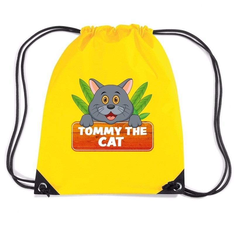Tommy the Cat katten trekkoord rugzak - gymtas geel voor kinderen