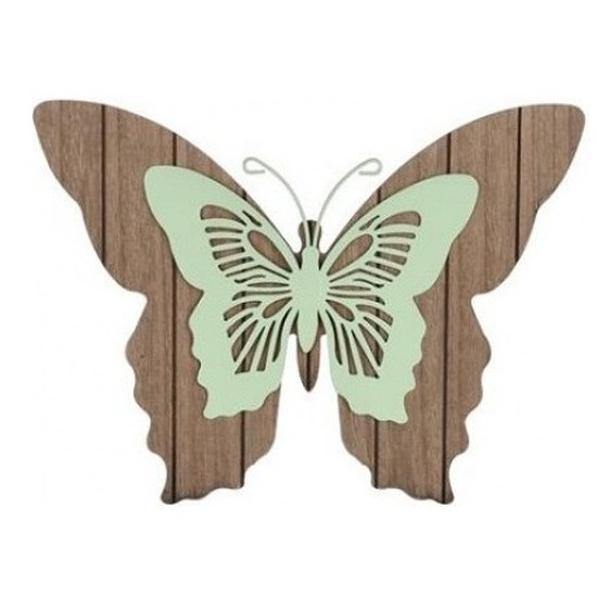 Tuin vlinder bruin-mintgroen 28 cm