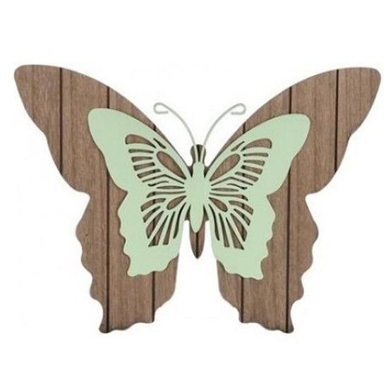 Tuin vlinder bruin-mintgroen 38 cm