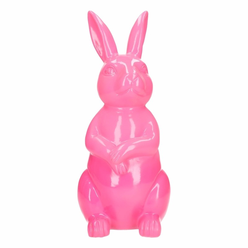 Tuinbeeld konijn / haas roze 30 cm