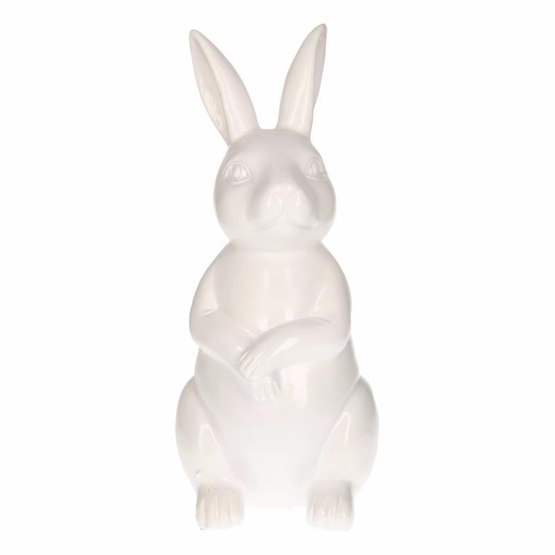 Tuinbeeld konijn - haas wit 30 cm