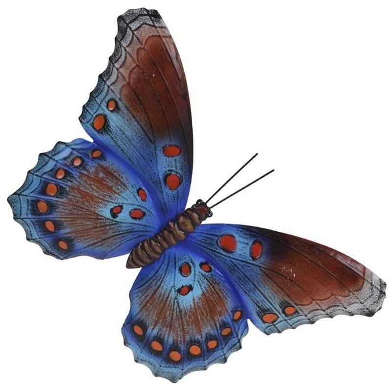 Tuindecoratie bruin/blauwe vlinder 35 cm