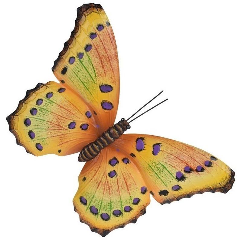 Tuindecoratie geel/paarse vlinder 35 cm
