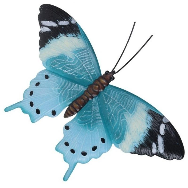 Tuindecoratie lichtblauw/zwarte vlinder 35 cm