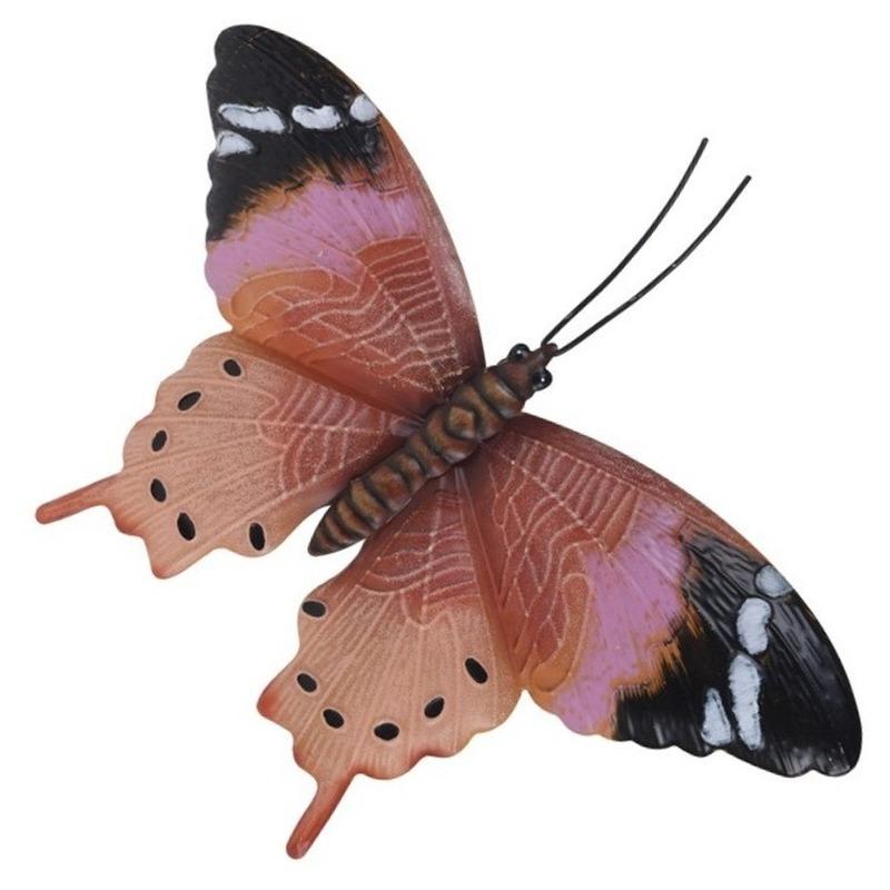 Tuindecoratie roestbruin/roze vlinder 35 cm