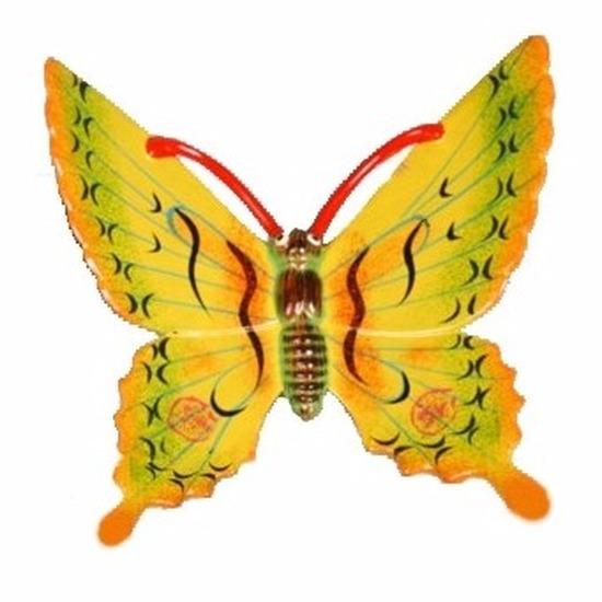 Tuindecoratie vlinder geel 11 cm kunststof