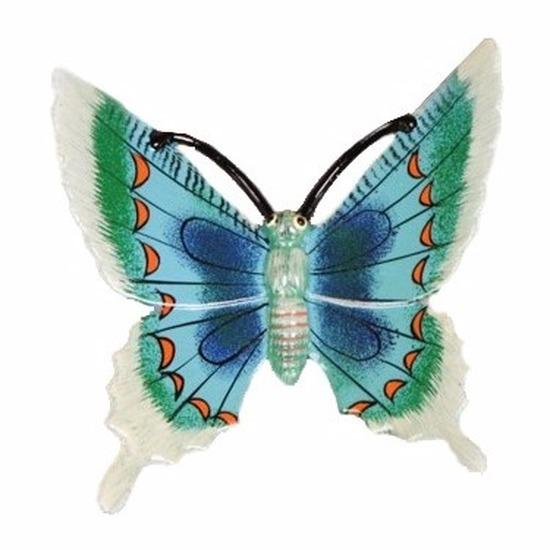 Tuindecoratie vlinder wit/blauw 11 cm kunststof