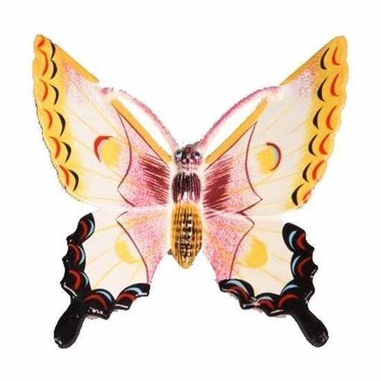 Tuindecoratie vlinder wit-geel 11 cm kunststof