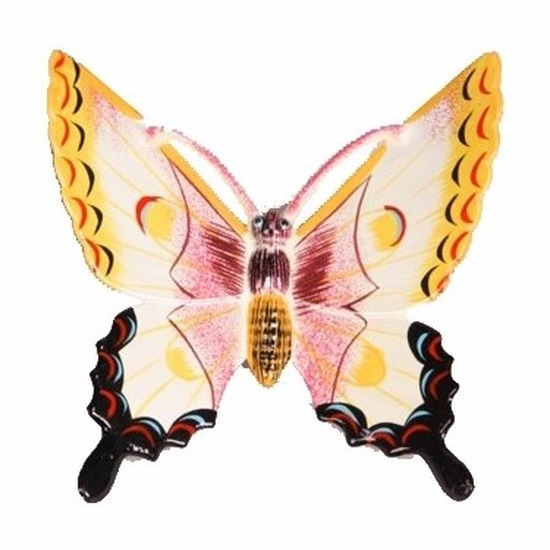 Tuindecoratie vlinder wit/geel 17 cm kunststof