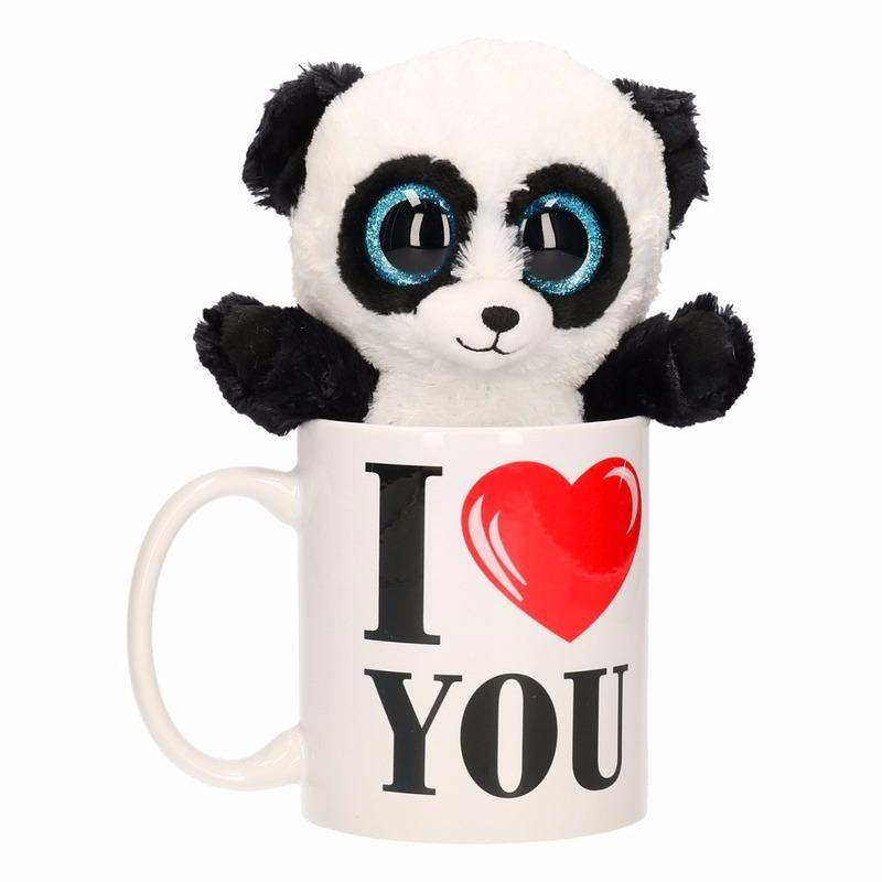 Valentijn kado I Love You beker met pluche panda