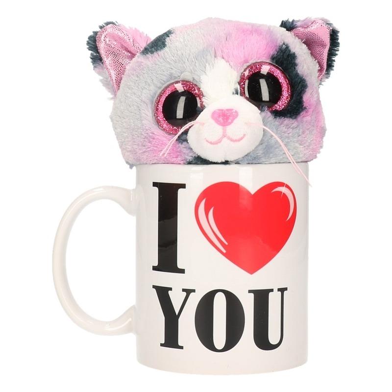 Valentijn kado I Love You beker met pluche poes/kat