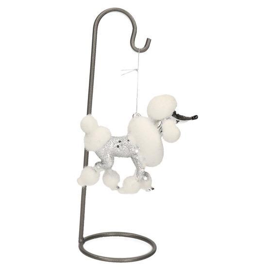 Vensterbank decoratie standaard met poedel hond hanger