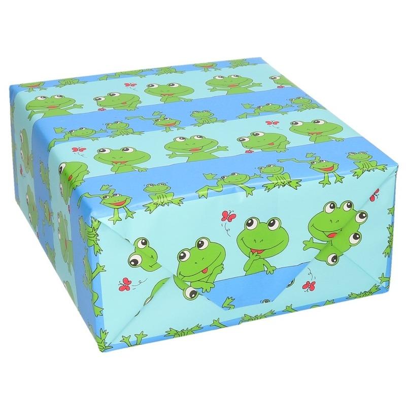 Verjaardag kadopapier blauw met groene kikkertjes dieren print 200 x 70 cm