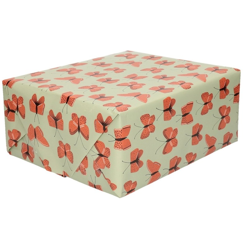 Verjaardag kadopapier groen/rood vlinders 200 x 70 cm voor kinderen