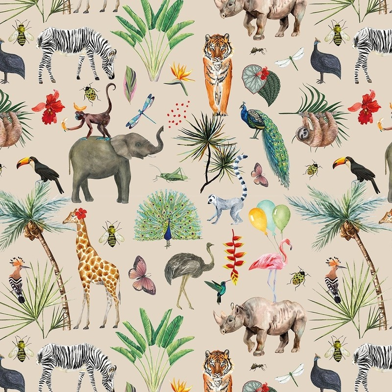 Verjaardag kadopapier taupe jungle 200 x 70 cm voor kinderen