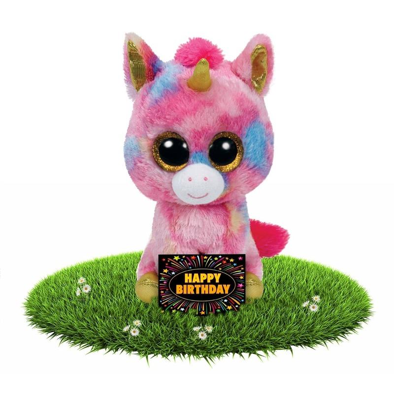 Afbeelding Verjaardagcadeau eenhoorn knuffel Ty Beanie 24 cm + gratis verjaardagskaart door Animals Giftshop
