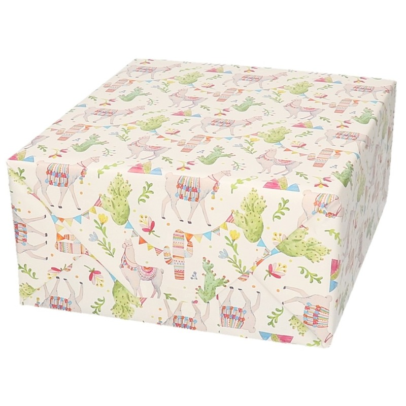 Verjaardagscadeau inpakpapier lama/alpaca 70 x 200 cm