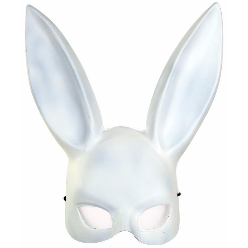 Verkleed wit konijntje/haasje gezichtsmasker voor volwassenen