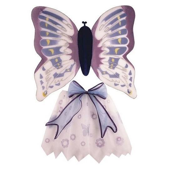Verkleedkleding paars/witte vlinder vleugels voor meisjes