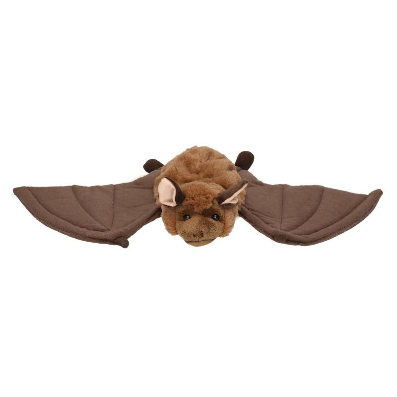 Vleermuis handpop bruin/wit pluche 36 cm