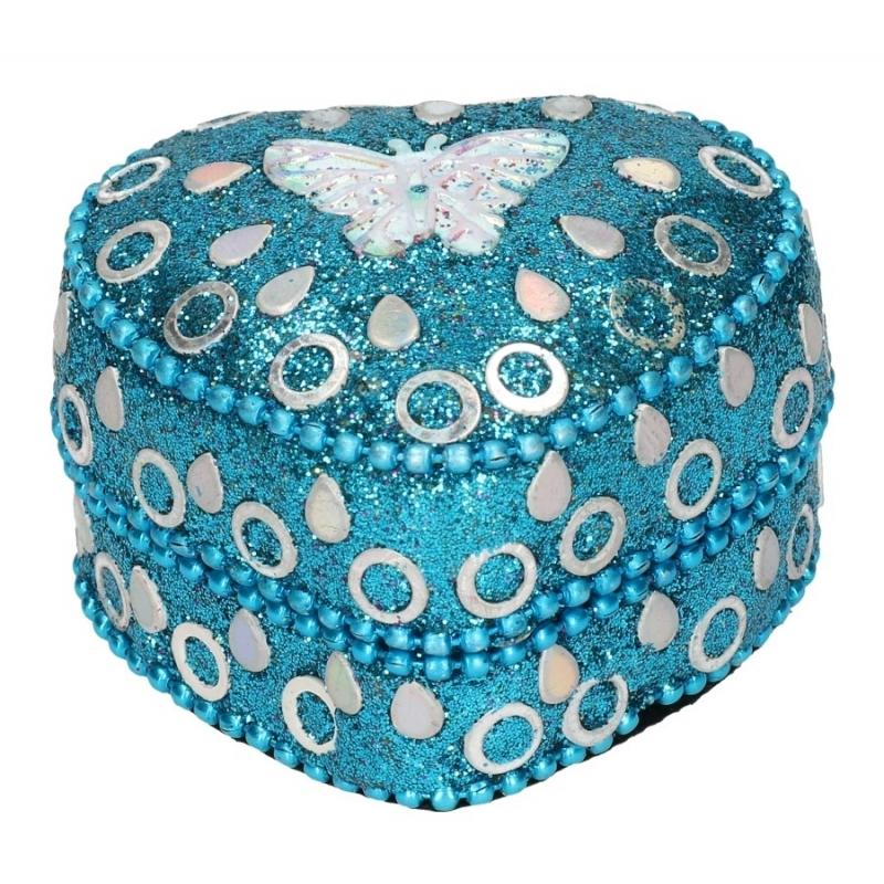 Vlinder tandendoosje blauw 6 cm