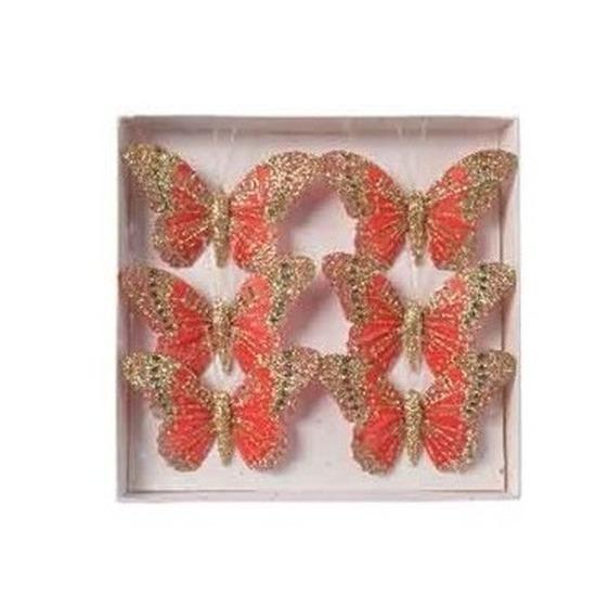 Afbeelding Vlinders op steker rood 8 cm met glitters decoratie materiaal door Animals Giftshop