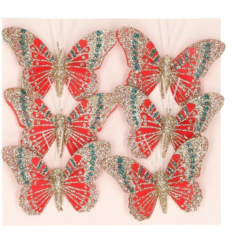 Vlinders op steker rood 8 cm met glitters decoratie materiaal