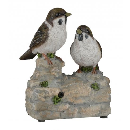 Vogel tuinbeeldje musjes op boomstam met geluid 11 cm