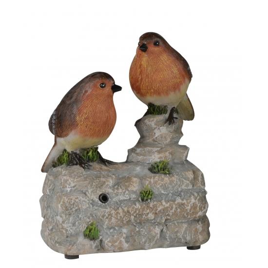 Vogel tuinbeeldje roodborstjes op boomstam met geluid 11 cm
