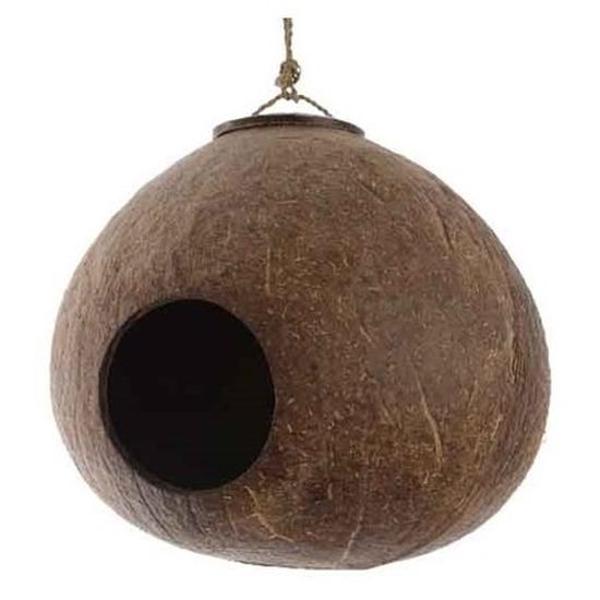 Afbeelding Vogelhuisje echte kokosnoot aan hanger 16 cm door Animals Giftshop