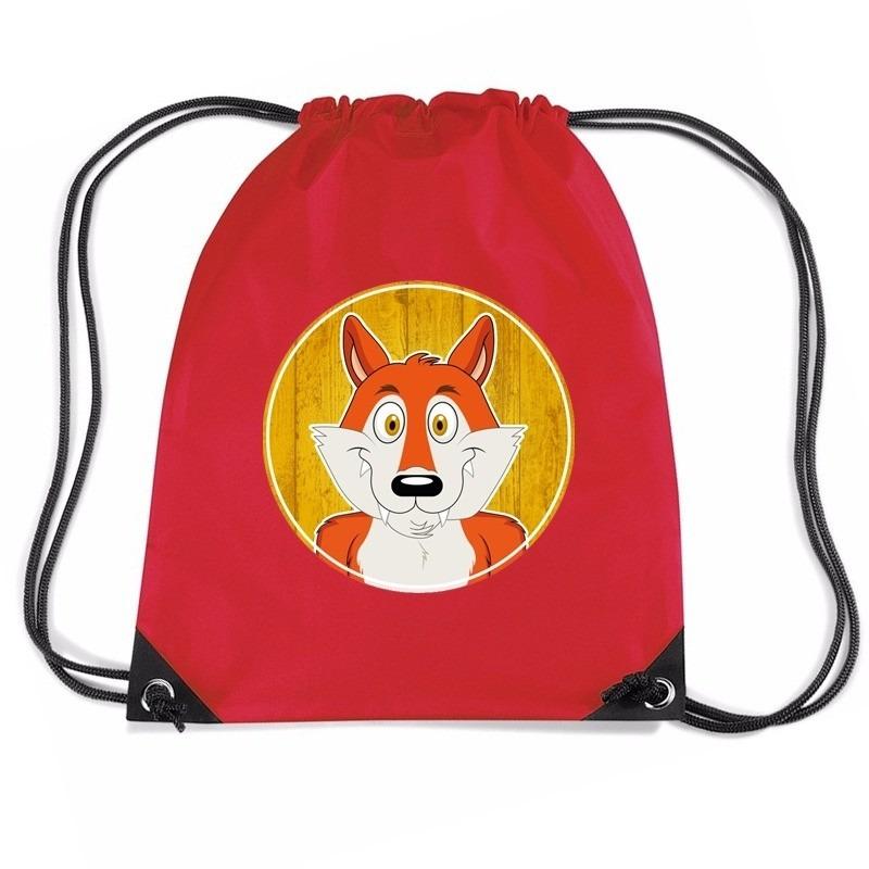Vos dieren trekkoord rugzak - gymtas rood voor kinderen