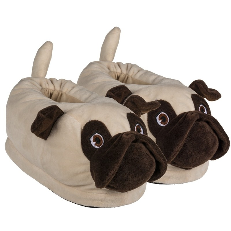 Warme dieren sloffen/pantoffels mopshond voor dames/heren
