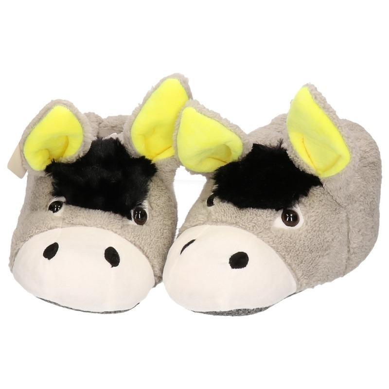 Warme dieren slofjes/pantoffeltjes ezel voor dames