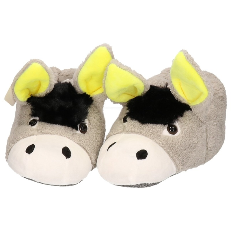 Warme dieren slofjes/pantoffeltjes ezel voor heren