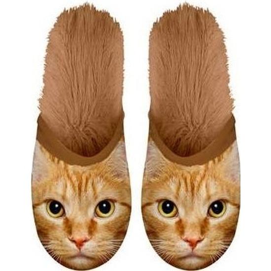 Warme dieren slofjes/pantoffeltjes rodes katten voor dames/heren/volwassenen