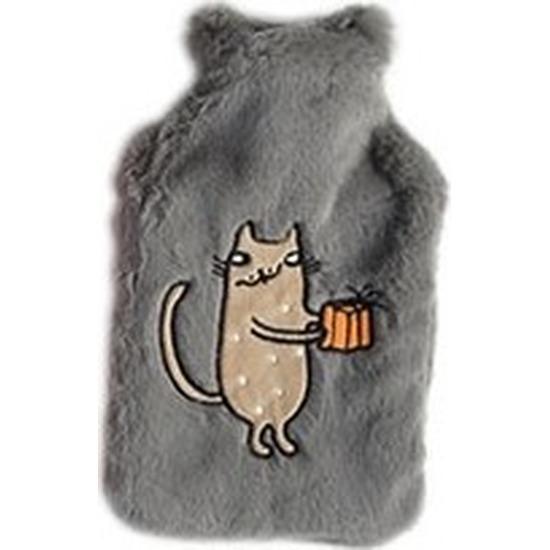 Warmwaterkruik lichtgrijs pluche met bruine katten/poezen afbeelding 2 liter