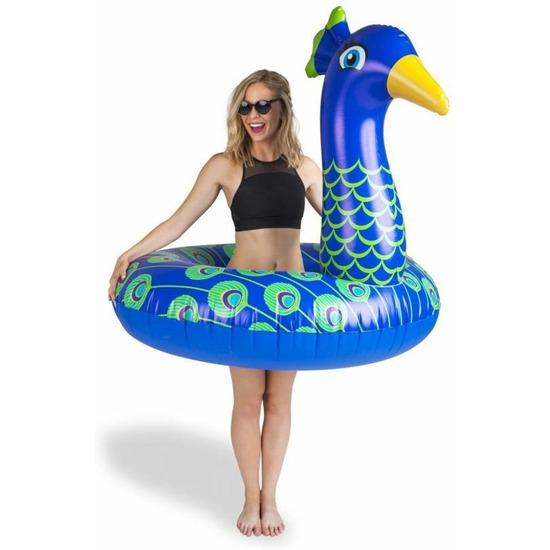 Waterspeelgoed XXL blauwe pauwen zwemband/zwemring 120 cm