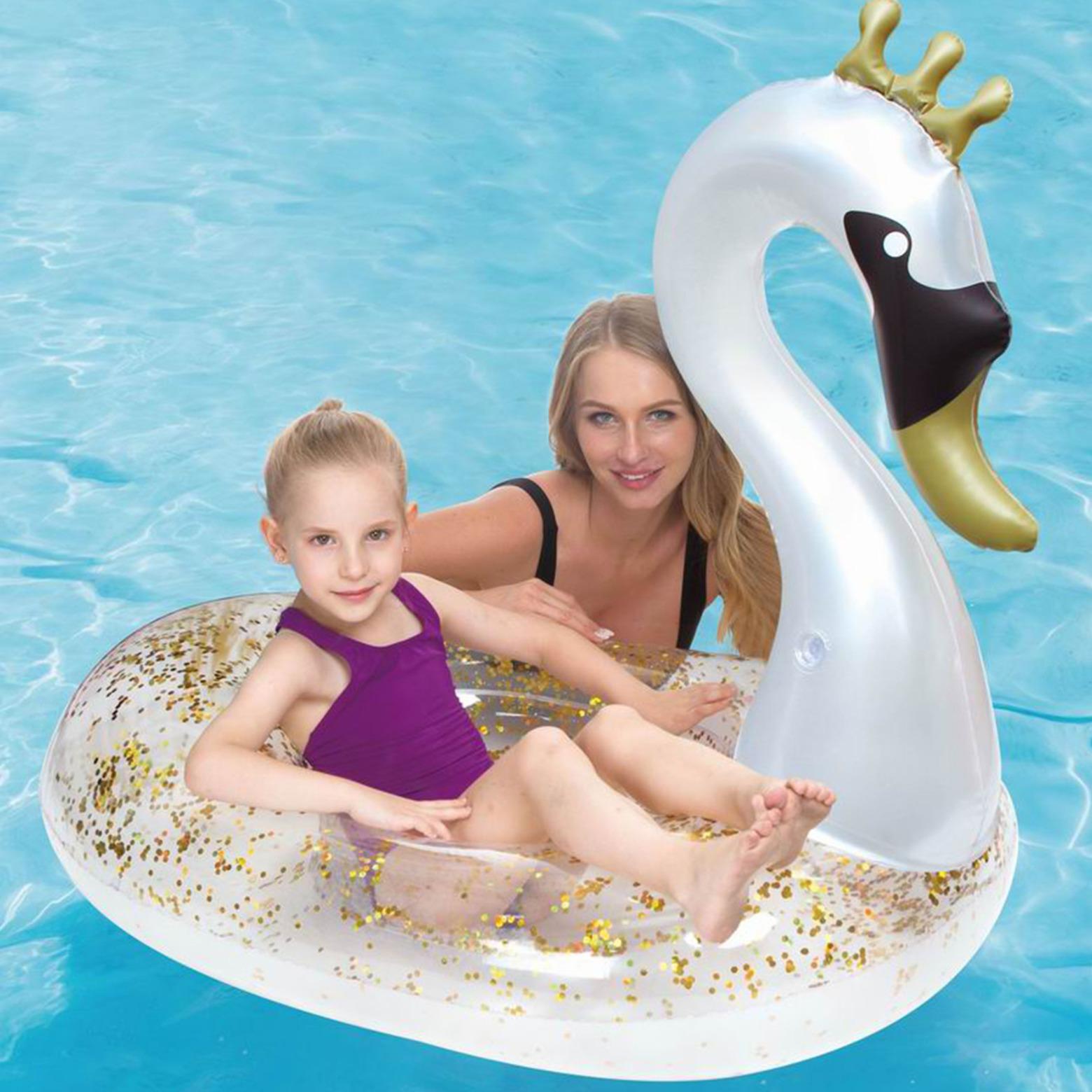 Waterspeelgoed zilveren/gouden zwaan ride-on/luchtbed 71 x 113 x 90 cm voor jongens/meisjes/kinderen