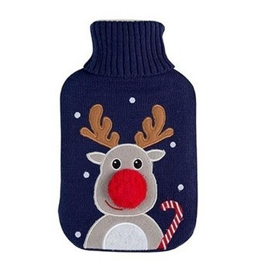 Winter kruik met Kerst rendier blauwe hoes 2 liter