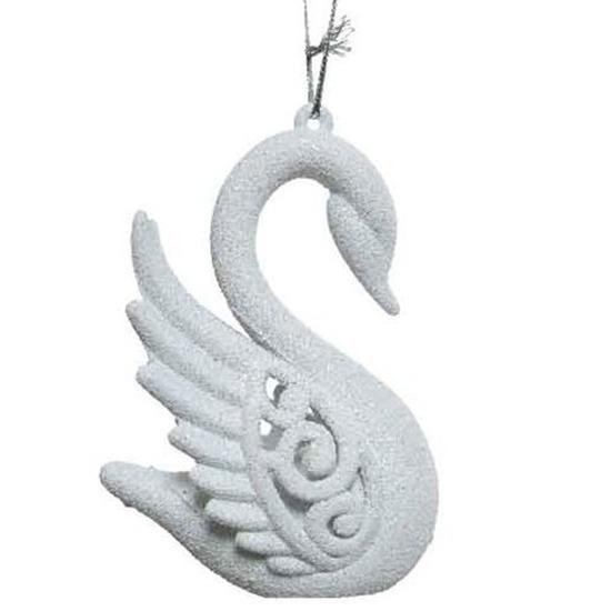 Afbeelding Winter witte zwanen kerstornamenten kersthangers 10 cm door Animals Giftshop