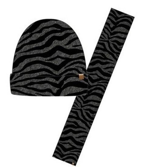 Wintersetje sjaal en muts antraciet zebra print voor meisjes
