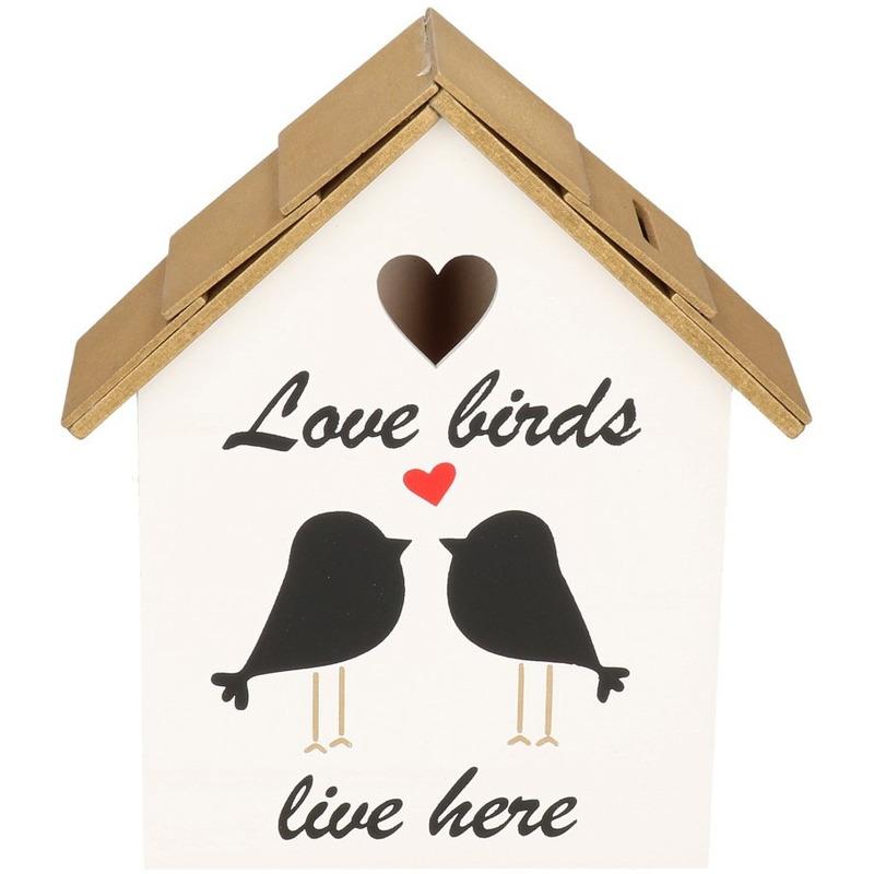 Wit/goud vogelhuisje spaarpot 20 cm
