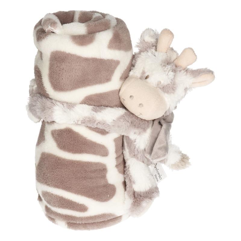 Wit/grijze dierenprint deken 100 x 75 cm met klittenband koeien/stieren knuffel