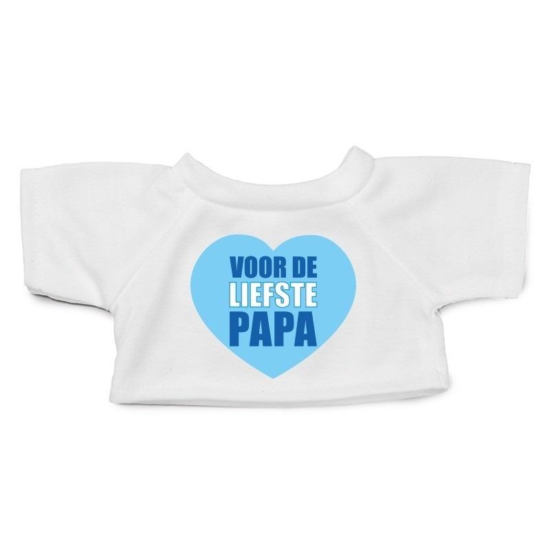 Wit knuffel shirt hartje Liefste Papa maat M voor Clothies knuffel 13 x 9 cm