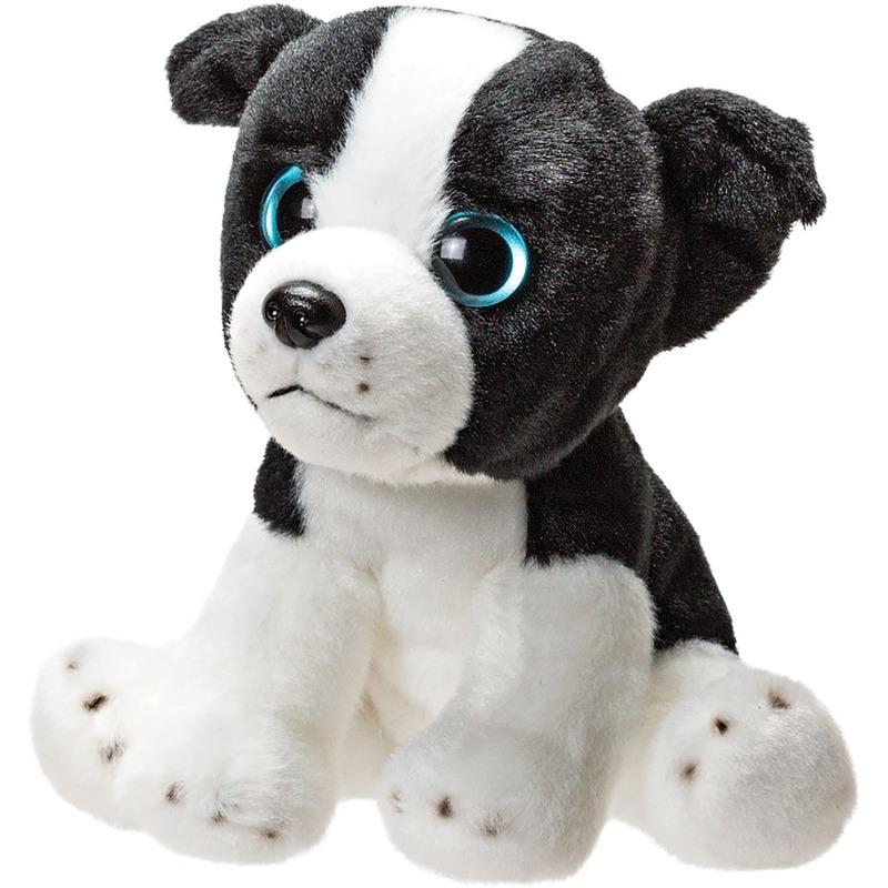 Wit met zwarte border collies puppies knuffels 14 cm knuffeldieren