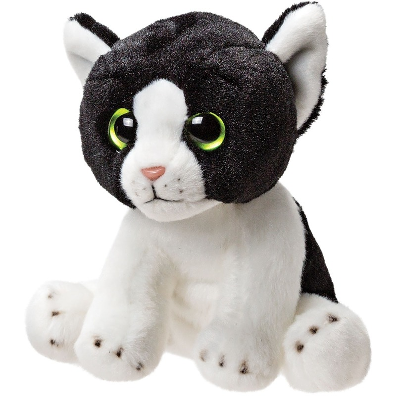 Wit met zwarte kat/poes knuffels 14 cm knuffeldieren