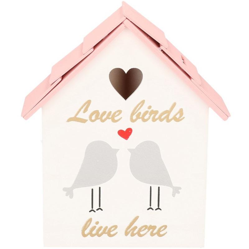 Wit/roze vogelhuisje spaarpot 20 cm